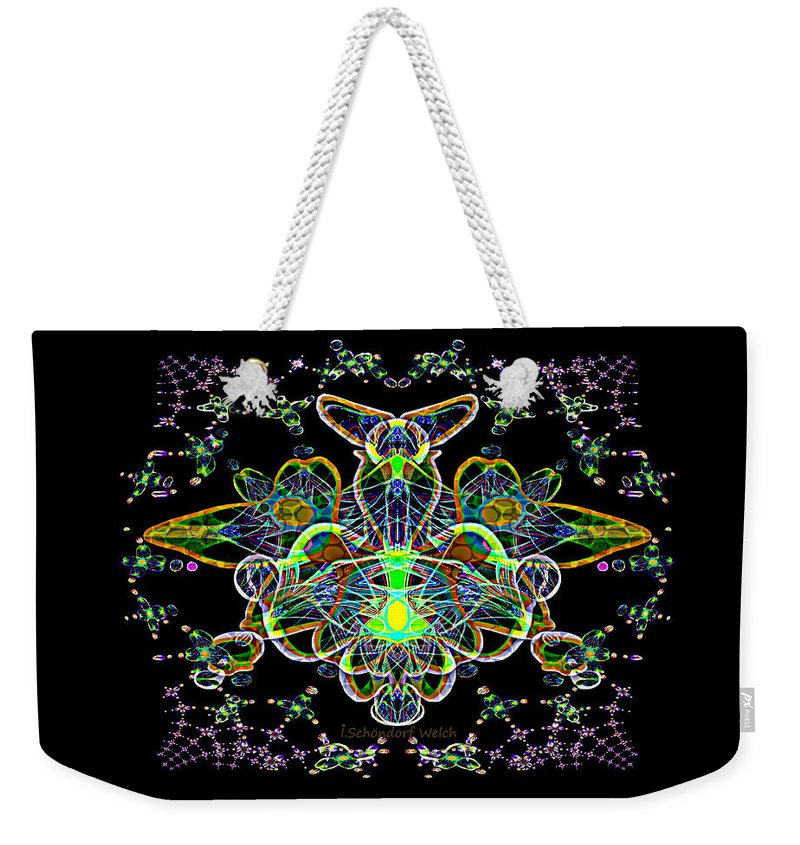 2877 Abstract Fractal Gimp 2018 Weekender Tote Bag featuring the digital art 2877 Abstract Fractal Gimp 2018 by Irmgard Schoendorf Welch