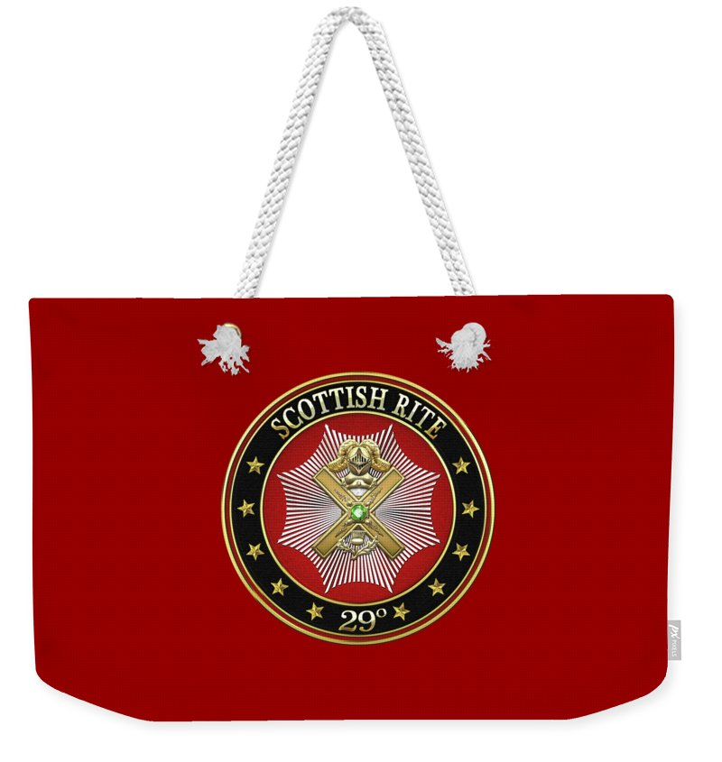 'scottish Rite' Collection By Serge Averbukh Weekender Tote Bag featuring the digital art 29th Degree - Scottish Knight Of Saint Andrew Jewel On Red Leather by Serge Averbukh