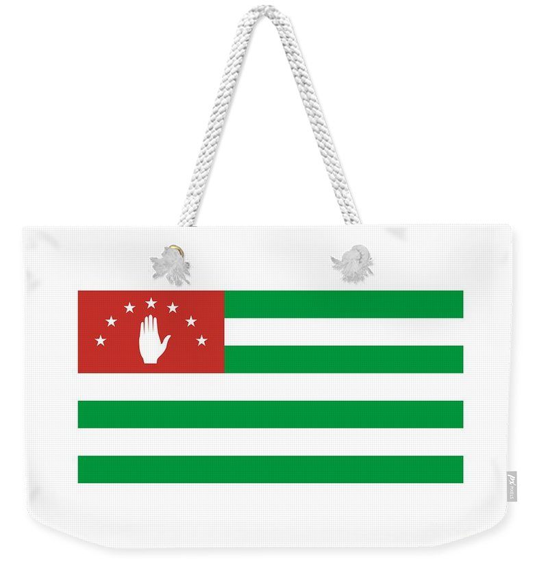 Flag Weekender Tote Bag featuring the digital art Abkhazia Flag by Frederick Holiday