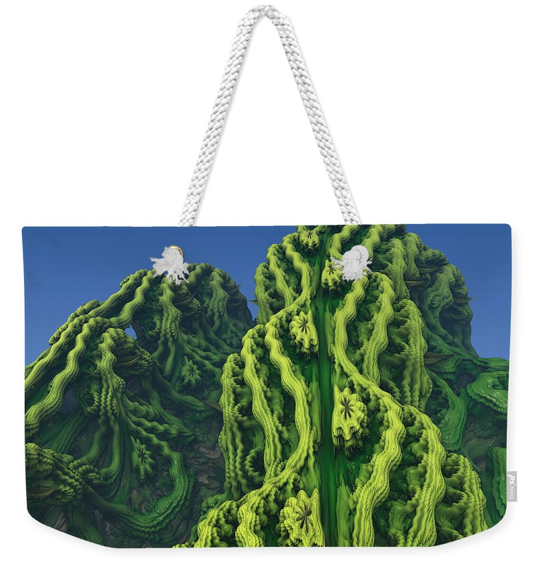 Abstract Weekender Tote Bag featuring the digital art Abstract Fractal Landscape by Miroslav Nemecek
