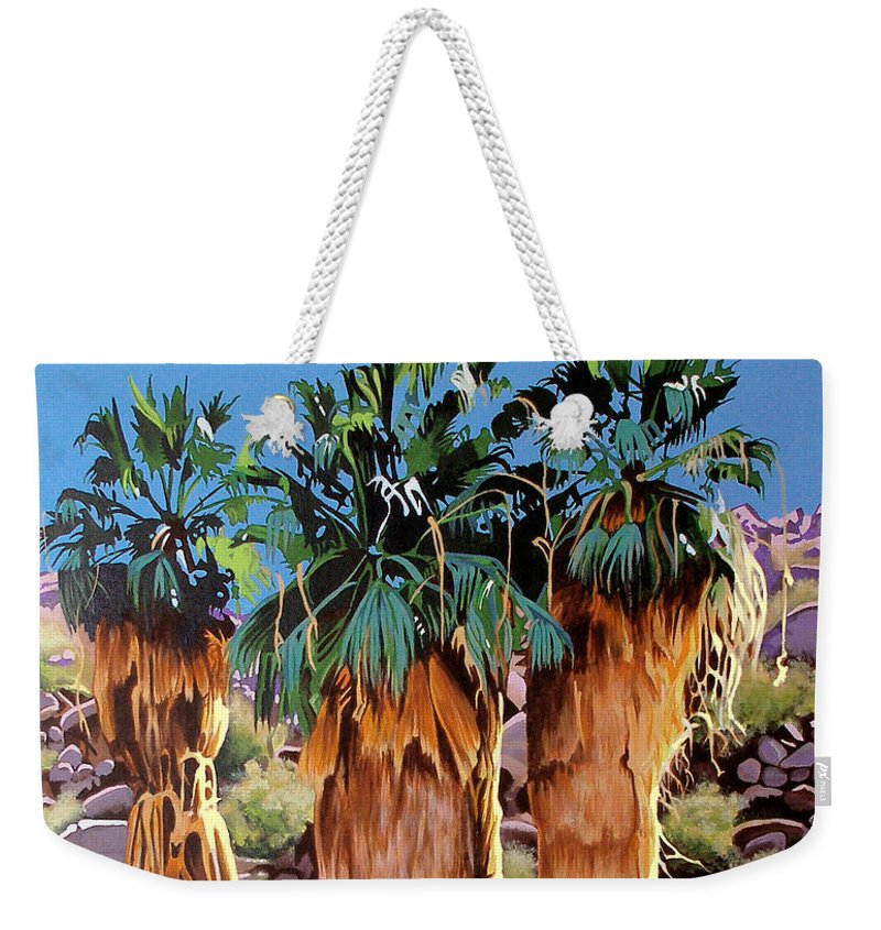 Coachella Valley Weekender Tote Bag featuring the painting 3 Amigos by Joe Roselle