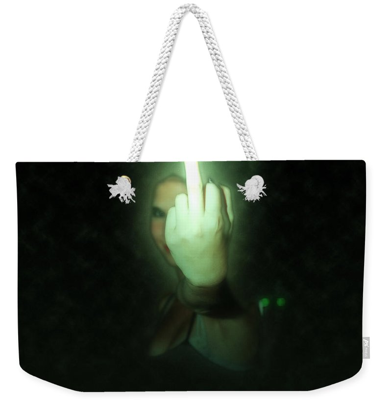 Up Yours Weekender Tote Bag featuring the photograph An Obscene Hand Sign by Humourous Quotes