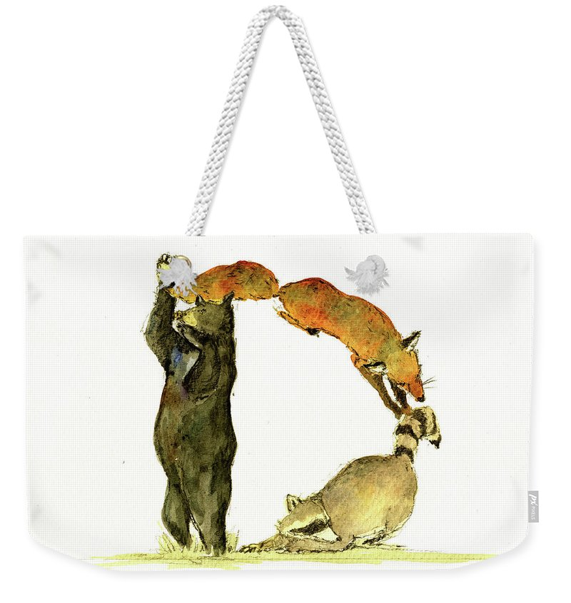 Woodland Alphabet Weekender Tote Bag featuring the painting Animal Letter by Juan Bosco