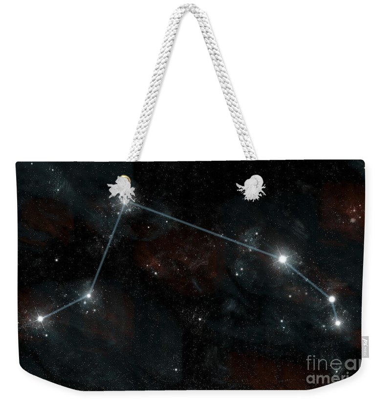 Astrology Weekender Tote Bag featuring the digital art Artists Depiction Of The Constellation by Marc Ward