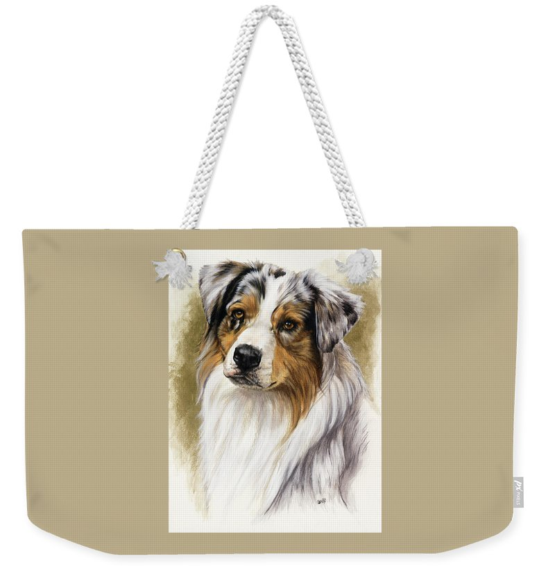 Purebred Weekender Tote Bag featuring the mixed media Australian Shepherd by Barbara Keith