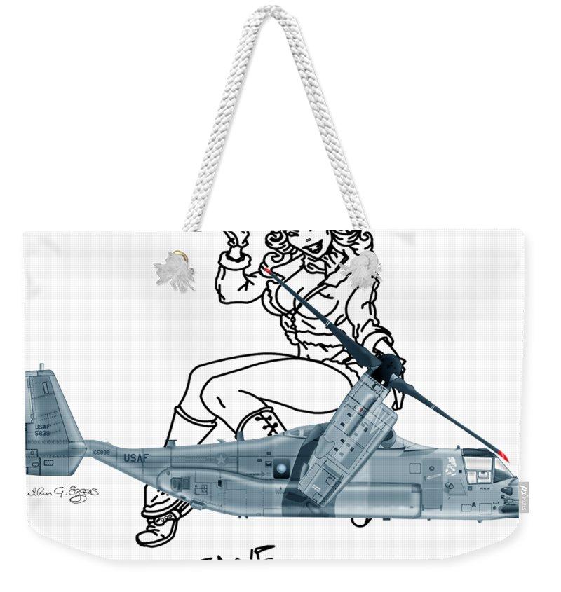 Bell Weekender Tote Bag featuring the digital art Bell Boeing Cv-22b Osprey Mojave Maude by Arthur Eggers