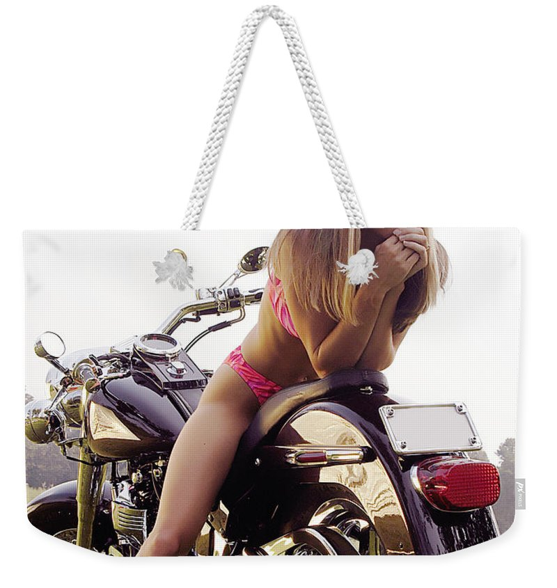 Weekender Tote Bag featuring the photograph Bikes And Babes by Clayton Bruster