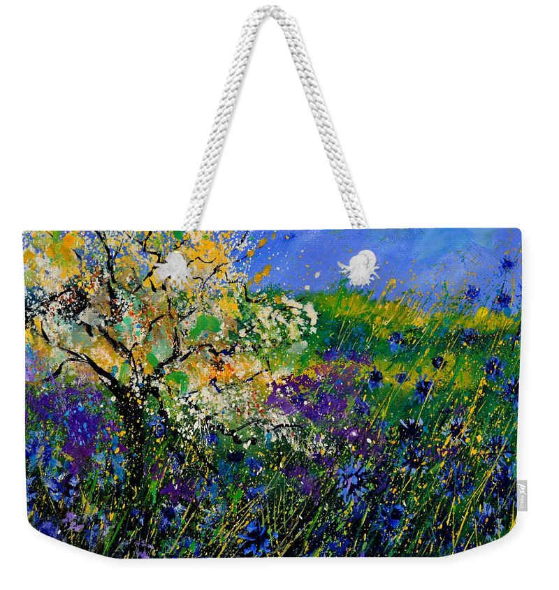 Flowers Weekender Tote Bag featuring the painting Blue Cornflowers by Pol Ledent