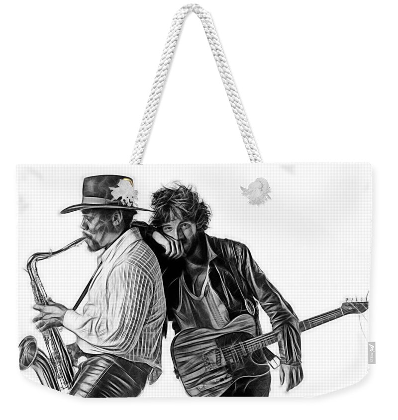 Bruce Springsteen Weekender Tote Bag featuring the mixed media Bruce Springsteen Clarence Clemons Collection by Marvin Blaine