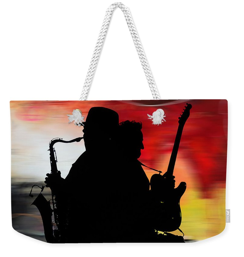 Bruce Springsteen Watercolor Portrait On Worn Distressed Canvas Mixed Media Mixed Media Weekender Tote Bag featuring the mixed media Bruce Springsteen Clarence Clemons by Marvin Blaine