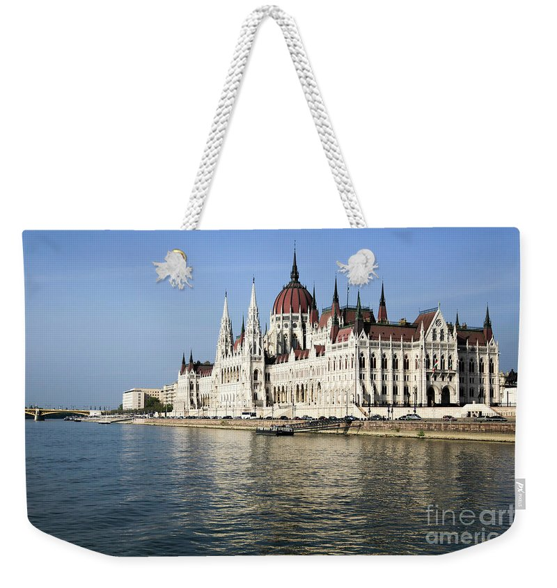 Famous Place Weekender Tote Bag featuring the photograph Budapest, Parliament Building by Vladi Alon