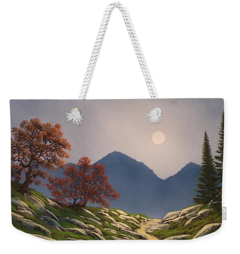Mountains Weekender Tote Bag featuring the painting By The Light Of The Moon by Frank Wilson