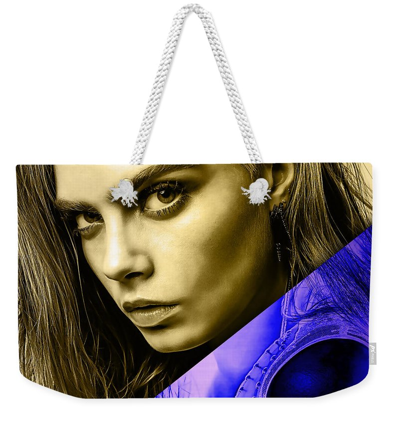 Cara Delevingne Weekender Tote Bag featuring the mixed media Cara Delevingne Collection by Marvin Blaine