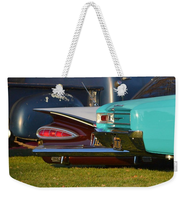Weekender Tote Bag featuring the photograph 3-chevys by Dean Ferreira