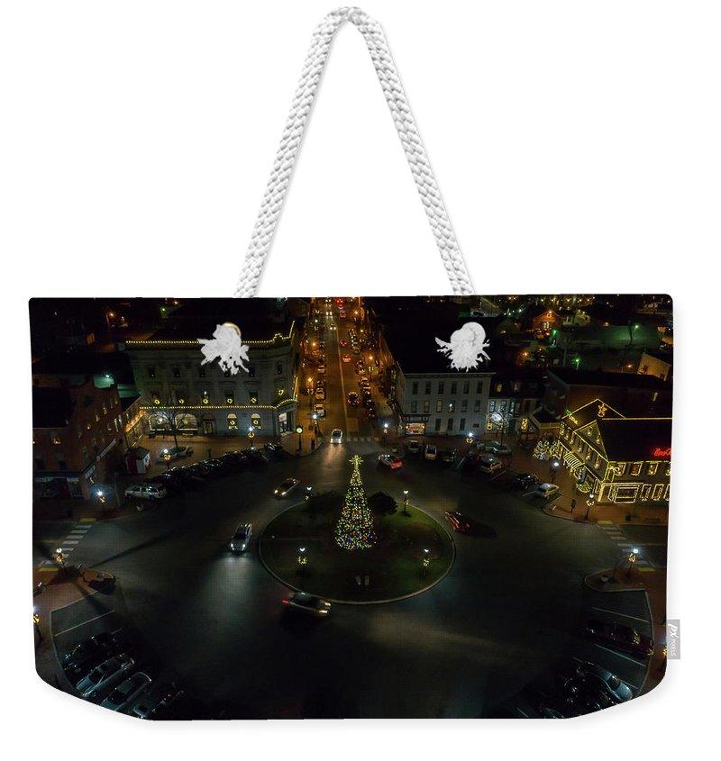 Gettysburg Weekender Tote Bag featuring the digital art Christmas Lights, Looking West by Richard Jarcy