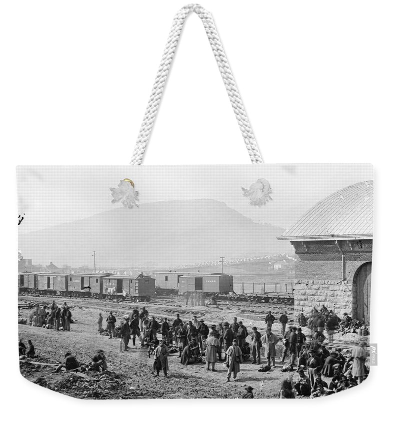 1864 Weekender Tote Bag featuring the photograph Civil War: Prisoners, 1864 by Granger