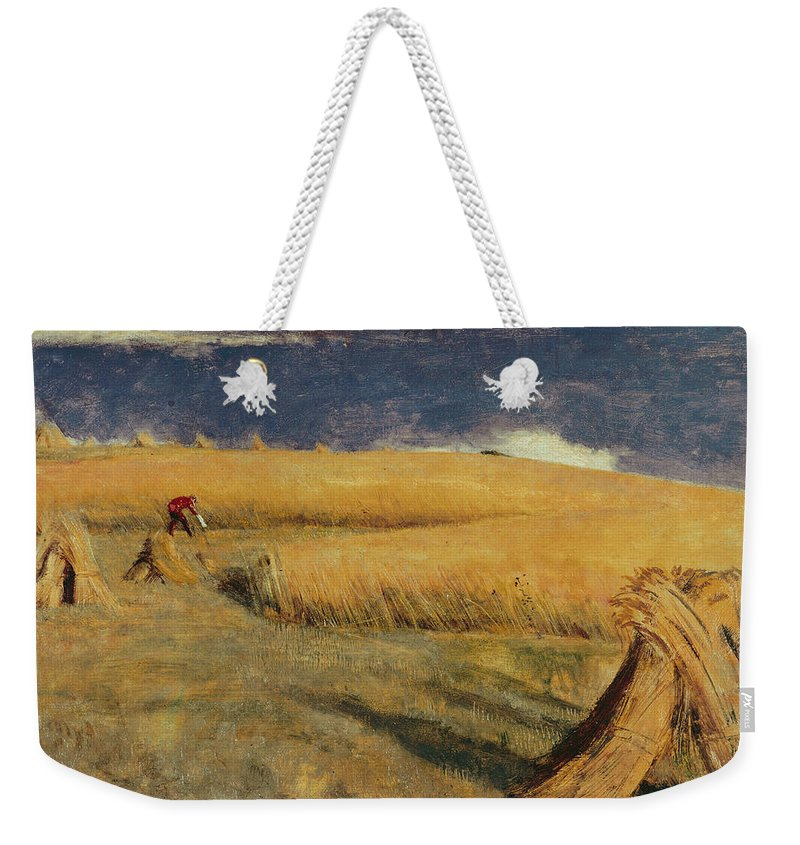 William Holman Hunt - Cornfield At Ewell Weekender Tote Bag featuring the painting Cornfield At Ewell by William Holman