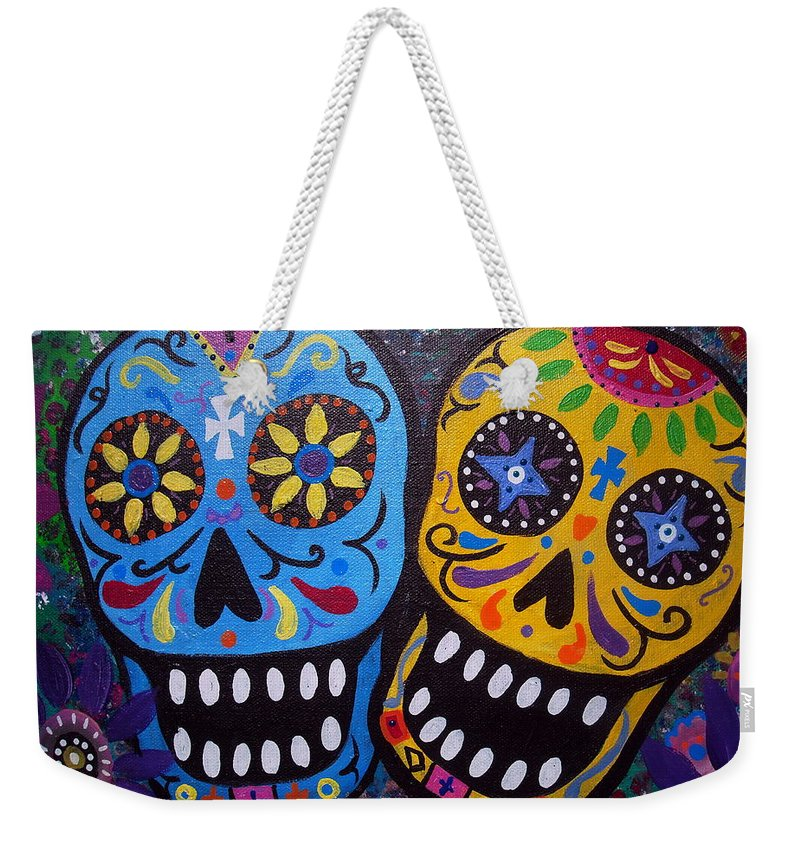 Whimsical Weekender Tote Bag featuring the painting Couple Day Of The Dead by Pristine Cartera Turkus