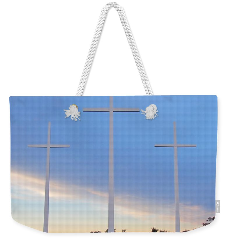 Crosses Weekender Tote Bag featuring the photograph 3 Cross Sunset by Michelle Powell