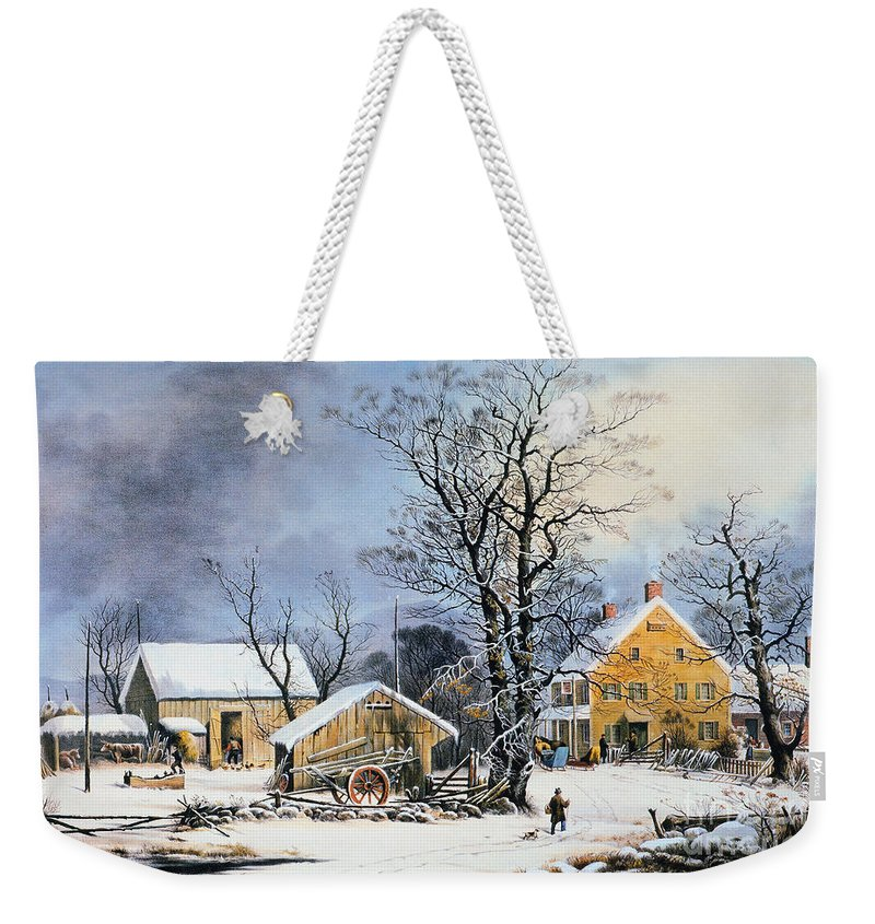 Weekender Tote Bag featuring the painting Currier & Ives Winter Scene by Granger