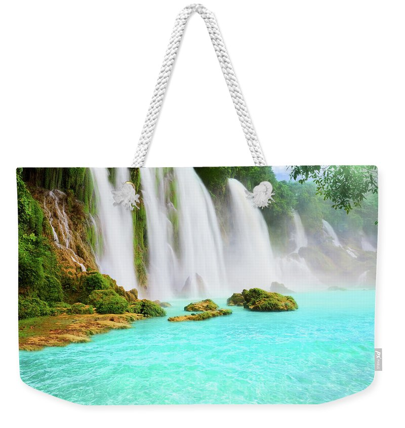 Waterfall Weekender Tote Bag featuring the photograph Detian Waterfall by MotHaiBaPhoto Prints