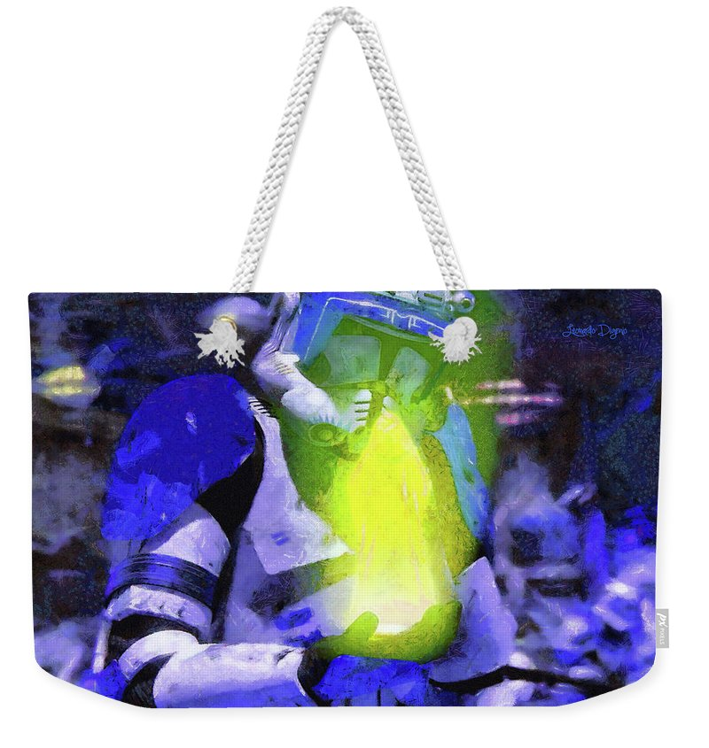 Execute Order 66 Weekender Tote Bag featuring the painting Execute Order 66 Blue Team Commander - Camille Style by Leonardo Digenio