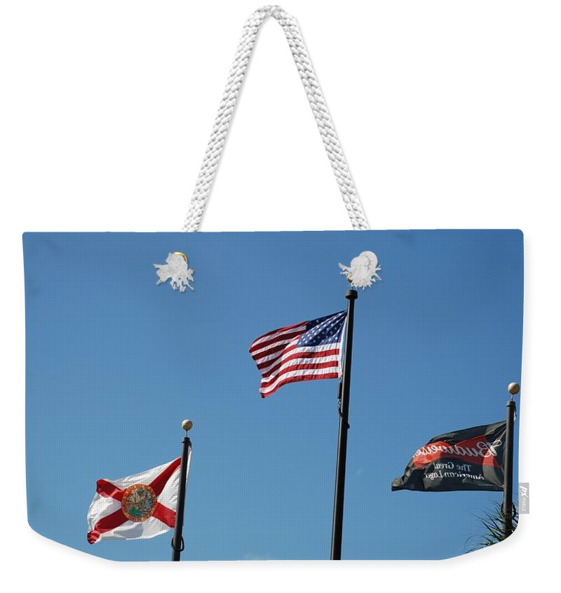 American Flag Weekender Tote Bag featuring the photograph 3 Flags by Rob Hans
