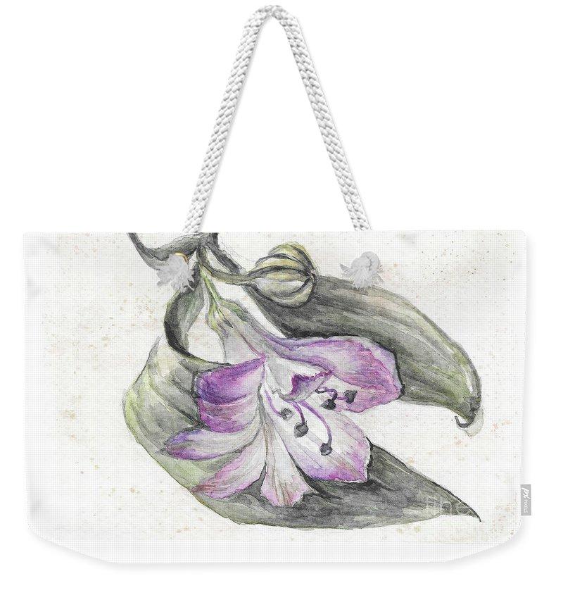 Flower Weekender Tote Bag featuring the painting Flower by Yana Sadykova