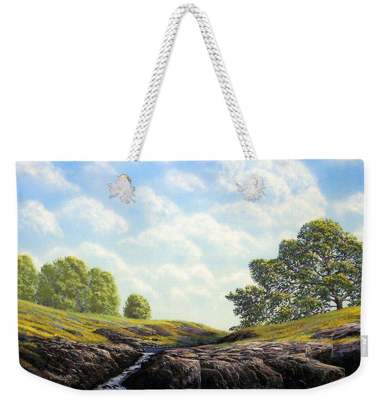 Landscape Weekender Tote Bag featuring the painting Flowering Meadow by Frank Wilson