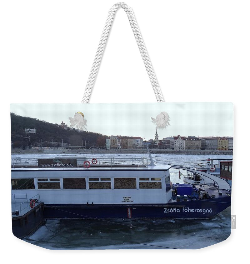 Danube Weekender Tote Bag featuring the photograph Genre Picture By Frozen Danube by Explorer Lenses Photography