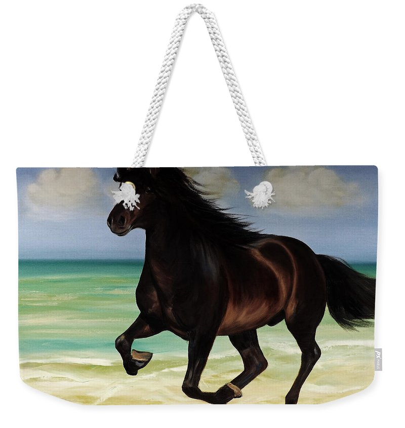 Horse Weekender Tote Bag featuring the painting Horses In Paradise Run by Gina De Gorna