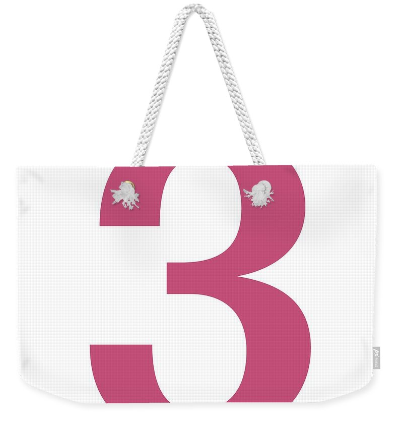 3 Weekender Tote Bag featuring the digital art 3 In Pink Typewriter Style by Custom Home Fashions