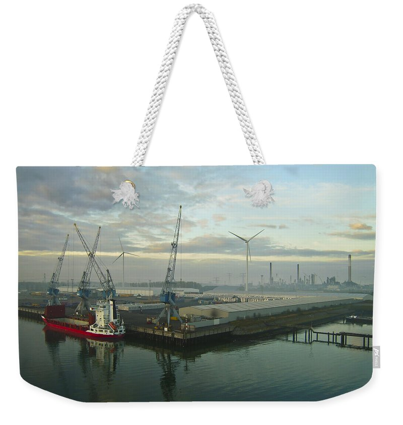 Aqua Weekender Tote Bag featuring the photograph Industrial by Svetlana Sewell