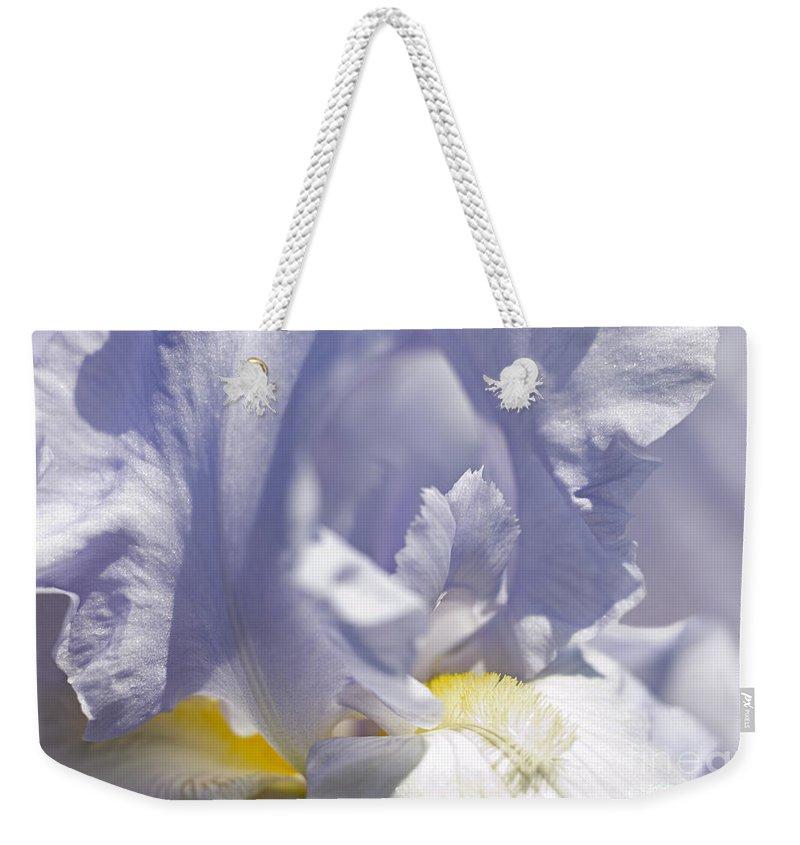 Genus Iris Weekender Tote Bag featuring the photograph Iris Flowers by Tony Cordoza