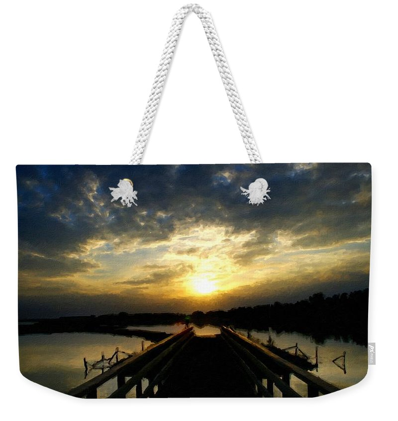 D Weekender Tote Bag featuring the digital art J P Landscape by Usa Map