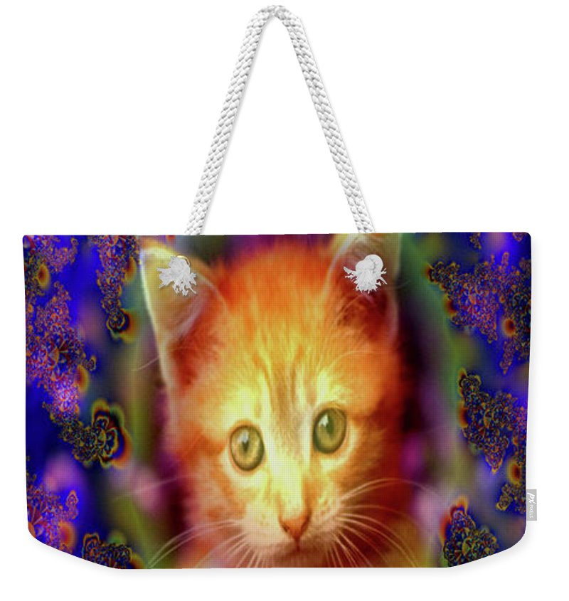 Greeting Cards Weekender Tote Bag featuring the digital art Kitten Portrait by Mitchell Watrous