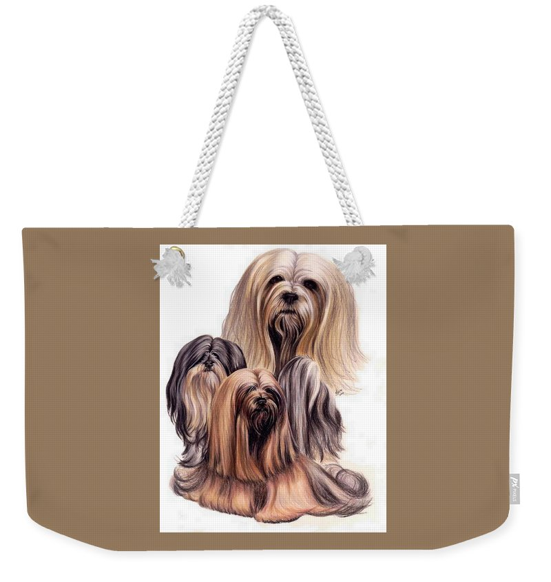 Purebred Weekender Tote Bag featuring the drawing Lhasa Apso Triple by Barbara Keith