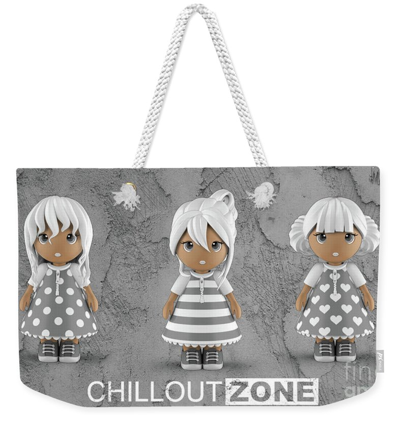 Three Weekender Tote Bag featuring the digital art 3 Little 3d Girls In Chilloutzone by Maria Astedt