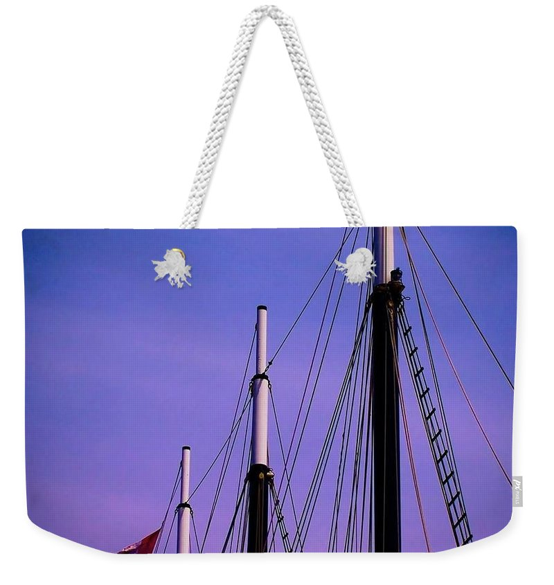 Ships Weekender Tote Bag featuring the photograph 3 Masts In Halifax by Laura Regier