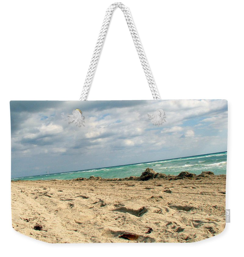 Miami Weekender Tote Bag featuring the photograph Miami Beach by Amanda Barcon