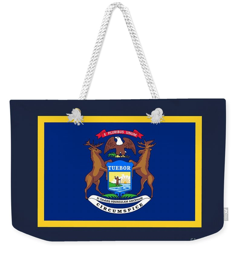 Flag Weekender Tote Bag featuring the digital art Michigan Flag by Frederick Holiday