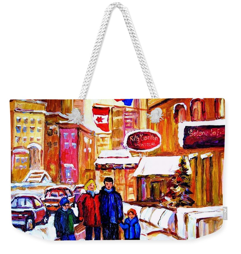 Montreal Weekender Tote Bag featuring the painting Montreal Street In Winter by Carole Spandau