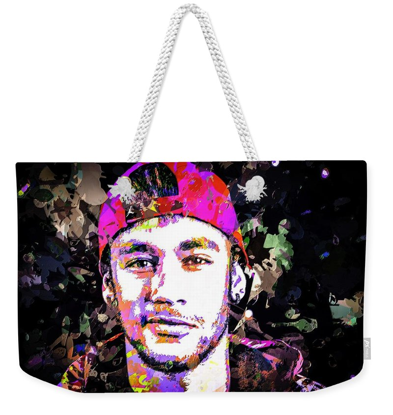 Beautiful Weekender Tote Bag featuring the mixed media Neymar by Svelby Art