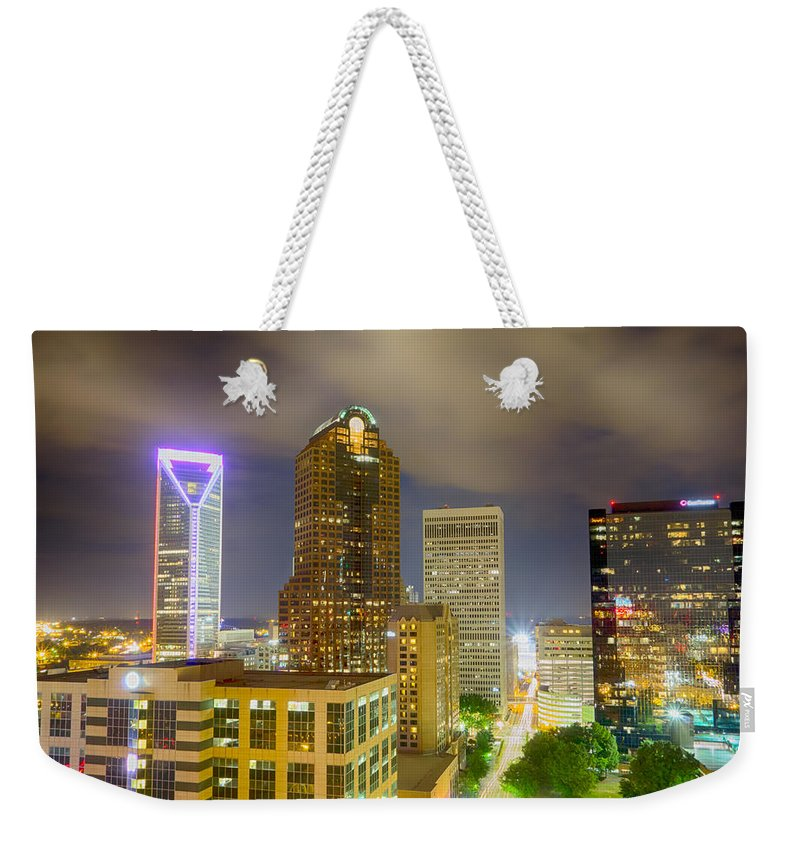 North Weekender Tote Bag featuring the photograph Night View Scenes Around Charlotte North Carolina by Alex Grichenko