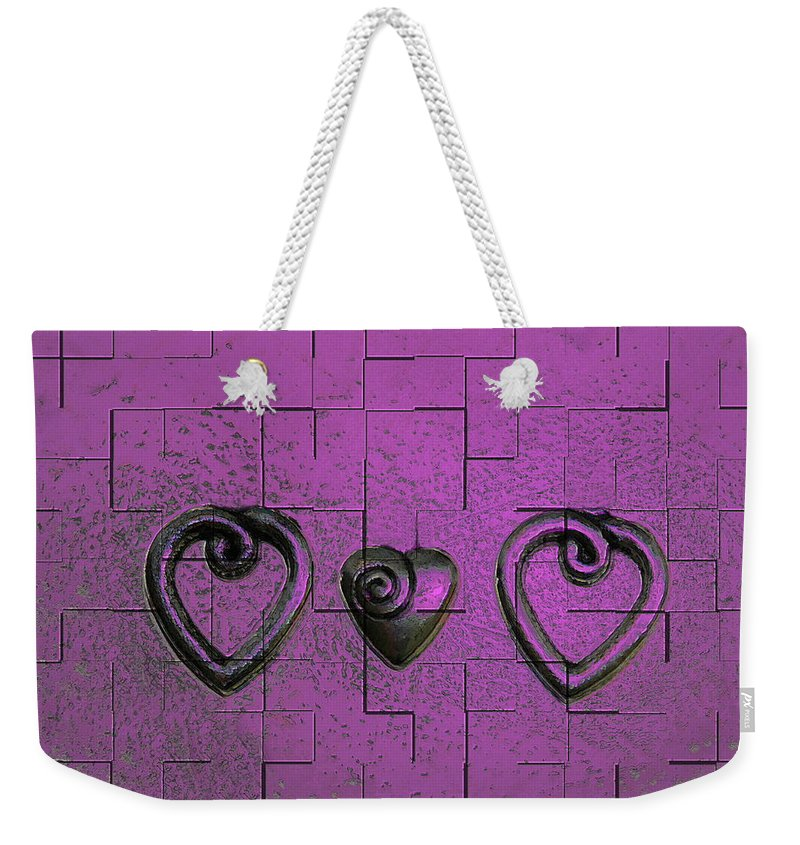 Abstracts Pink Purple Weekender Tote Bag featuring the photograph 3 Of Hearts by Linda Sannuti