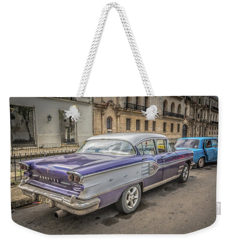 Havana Weekender Tote Bag featuring the photograph Old Car by Bill Howard