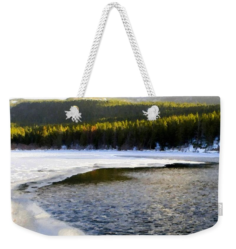 Acrylic Weekender Tote Bag featuring the digital art On Nature by Usa Map