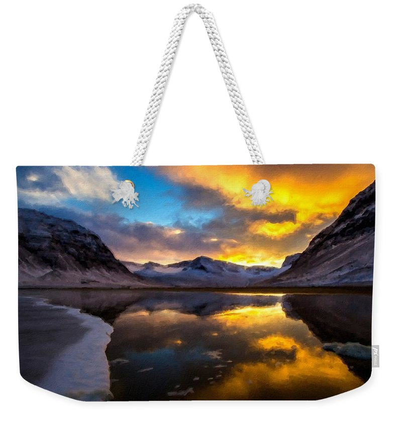 Landscape Weekender Tote Bag featuring the digital art Original Landscape Paintings by Usa Map