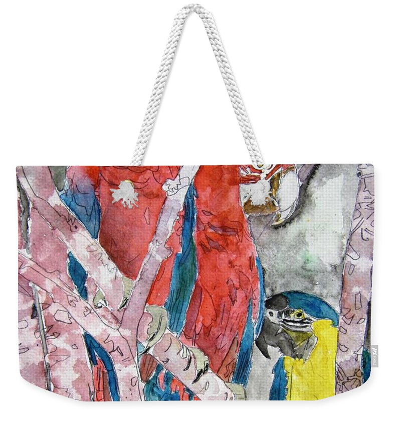 Bird Weekender Tote Bag featuring the painting 3 Parrots by Derek Mccrea