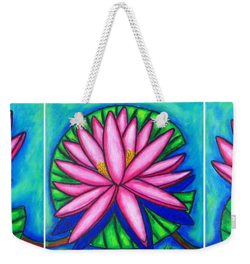 Water Lilies Weekender Tote Bag featuring the painting 3 Pink Gems by Lisa Lorenz